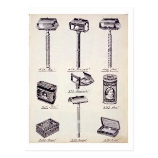Men's shaving equipment, from a trade catalogue of postcard