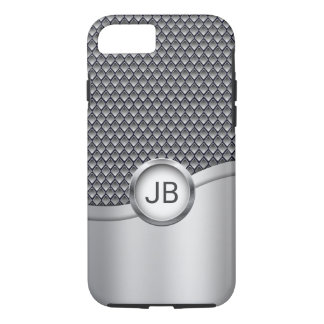 Men's Silver and Gray Metallic with Your Monogram iPhone 8/7 Case