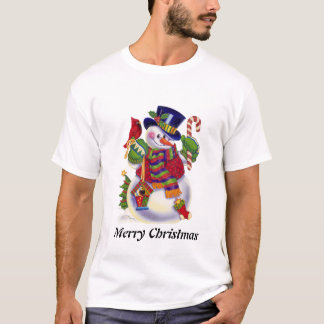 Mens Snowman Holiday cartoon t-shirt