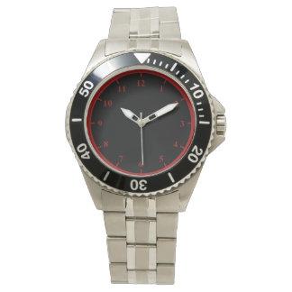 Men's Stainless Steel Bracelet Watch, Red Numbers Watch