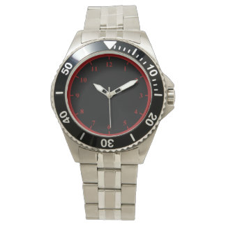 Men's Stainless Steel Bracelet Watch, Red Numbers Wristwatch