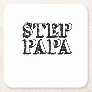 Mens Step Papa Bear Father's Day Square Paper Coaster