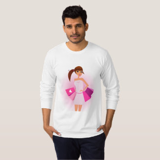 Mens t-shirt white with pink Model girl