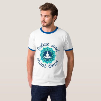 """Men's T-Shirt with Azure Mandala and """"Relax and Ch"""