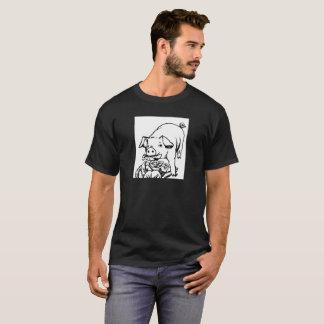 Men's T shirt with cartoon pig