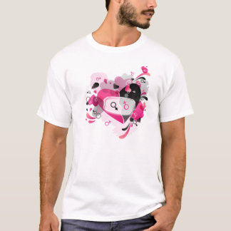 Mens'  T-short with heart black and pink design T-Shirt