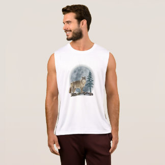 Men's tank top Wolf and moon design .