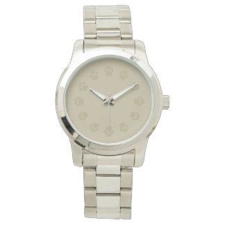 Men's Taupe-and-Silver Pawprint Watch