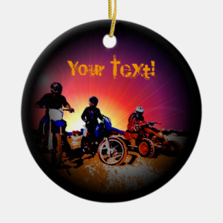 Men's Teen Boy's Motocross Motorbike Riding Round Ceramic Ornament