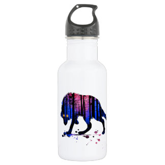 Mens Teen Boys Wolf Galaxy Star Forest Silhouette 532 Ml Water Bottle