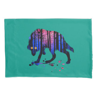 Mens Teen Boys Wolf Galaxy Star Forest Silhouette Pillowcase