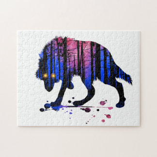 Mens Teen Boys Wolf Galaxy Star Forest Silhouette Puzzles