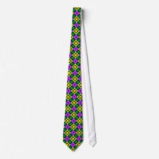 Men's Tie: Mardi Gras Bright Neon Geometric Tie