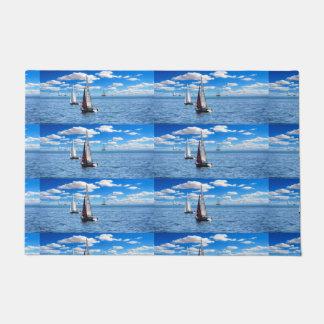 Men's trendy light blue sail boat door mat