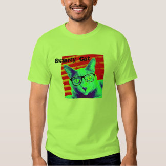 Men's TShirt Green Smarty Cat Glasses