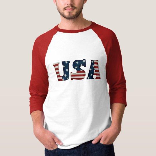 Men's USA 3/4 Sleeve Raglan T-Shirt