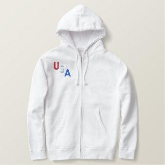 MEN'S USA ZIP HOODIE - White Hoodie