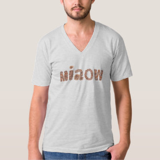 Men's V-neck T-shirt with 'miaow'