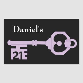 Mens Vector 21st Birthday Party Key Tag Sticker