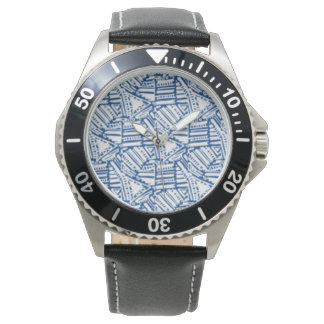 Men's watch with black band and navy white design