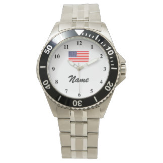 Men's watches with custom name and American flag