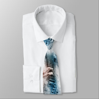 Men's Watercolor Guitar Tie