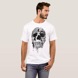 Men's White Dripping Judged Skull T - Shirt