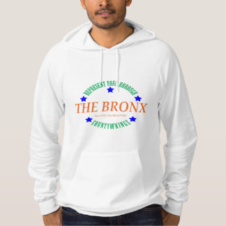 Men's White Fleece Pullover Hoodie w/The Bronx