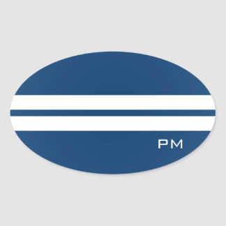 Mens White Racing Stripes Midnight Blue Oval Sticker