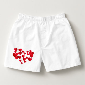 Men's White & Red hearts Cotton Boxers