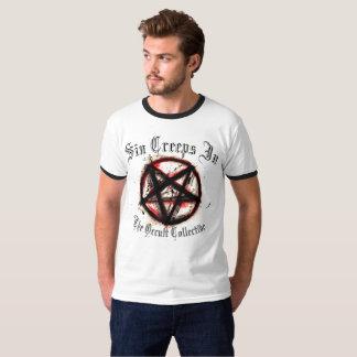 Men's White Sin Creeps In Pentacle Tshirt