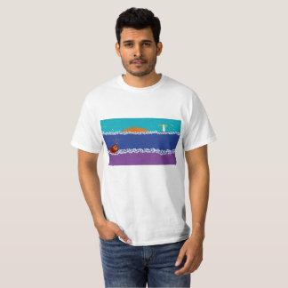 Mens white t shirt with seaside scene