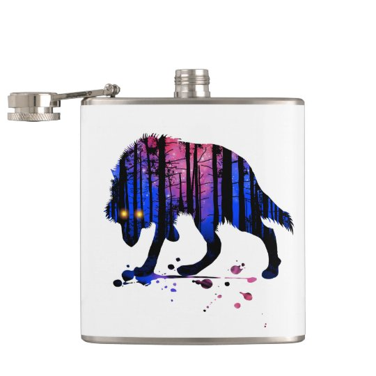 Mens Wolf Galaxy Star Forest Silhouette Hip Flask