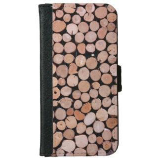 Mens Wood Log Pile Brown iPhone 6 Wallet Case