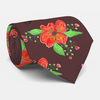 Menswear Flowered Tie In Reds And Mulled Wine