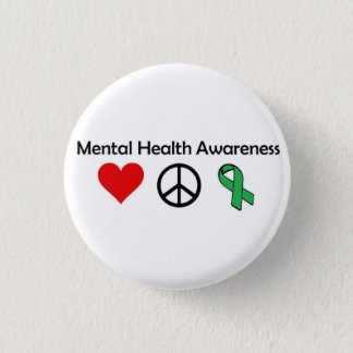 Mental Health Awareness - Love, Peace, Awareness 1 Inch Round Button