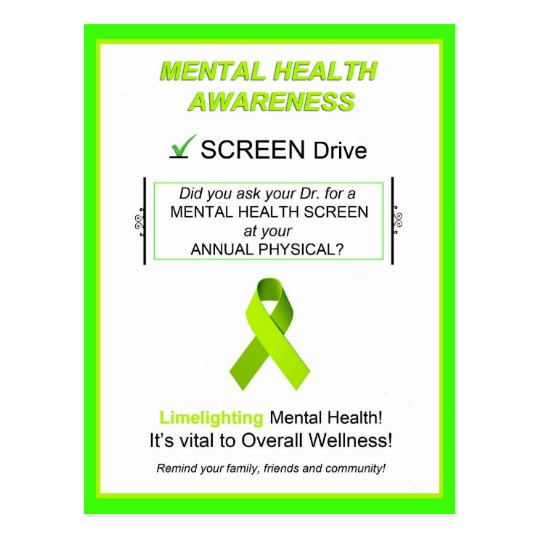 """Mental Health Awareness Screening"" Postcards"