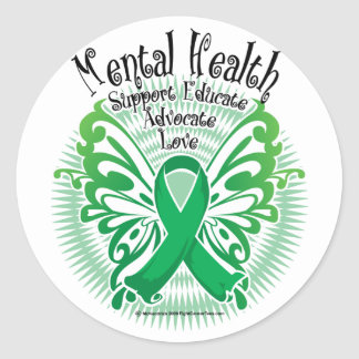 Mental Health Butterfly 3 Classic Round Sticker