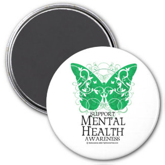 Mental Health Butterfly 3 Inch Round Magnet