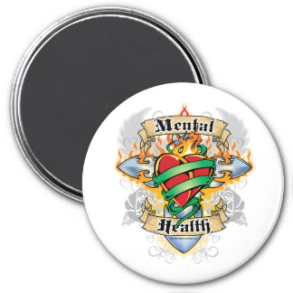 Mental Health Cross & Heart 3 Inch Round Magnet