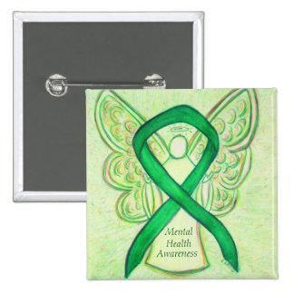 Mental Health Green Awareness Ribbon Angel Pin