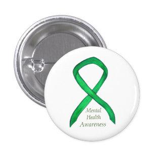 Mental Health Green Awareness Ribbon Button Pins