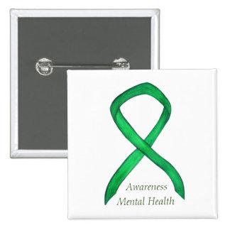 Mental Health Green Awareness Ribbon Pin Buttons