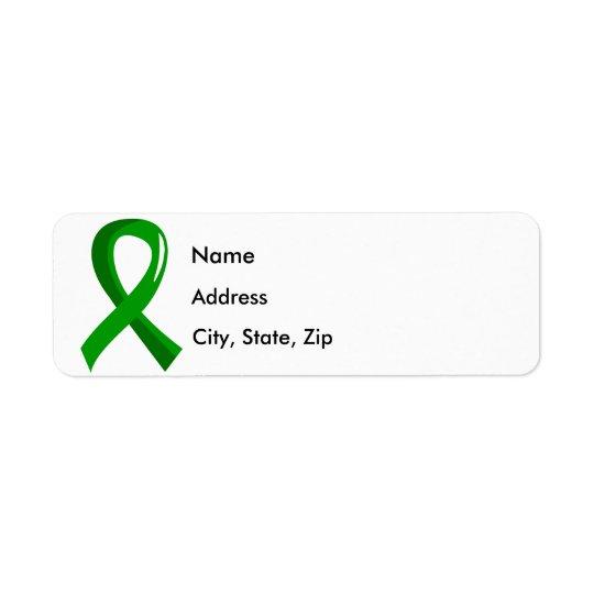 Mental Health Green Ribbon 3 Return Address Label