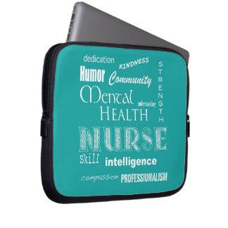 Mental Health Nurse-Attributes/Blue-Green Laptop Sleeve