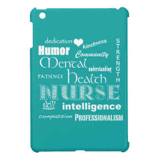 Mental Health Nurse Attributes+White Heart/Aqua iPad Mini Case