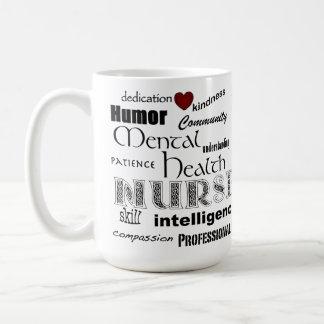 Mental Health Nurse Pride-Attributes+Red Heart Coffee Mug