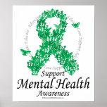 Mental Health Ribbon of Butterflies Print