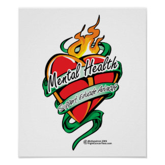 Mental Health Tattoo Heart Poster