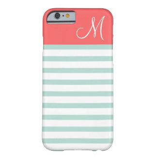 Menthe et monogramme de très bon goût de corail de coque iPhone 6 barely there